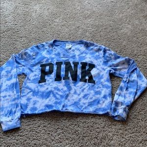 Blue tie dye  long sleeve crop top. From pink